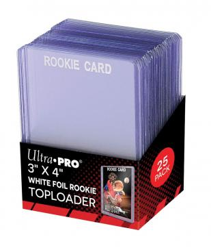 "Ultra PRO 3"" X 4"" Rookie White Toploader 25ct"