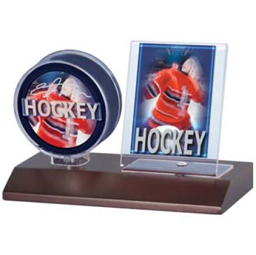 Ultra PRO Puck & Card Dark Wood Holder