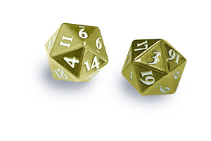 Ultra PRO Heavy Metal D20 2-Dice Set - Gold w/ White Numbers