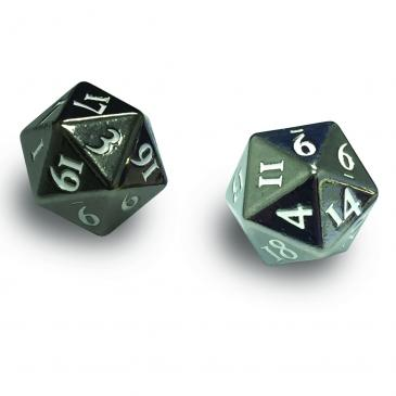 Ultra PRO Heavy Metal D20 2-Dice Set - Gun Metal w/ White Numbers